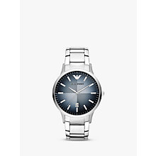 Buy Emporio Armani AR2472 Men's Renato Blue Degrade Dial Bracelet Strap Watch, Silver Online at johnlewis.com