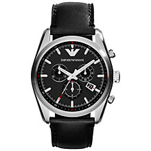 Buy Emporio Armani Men's New Tazio Chronograph Round Dial Leather Strap Watch Online at johnlewis.com
