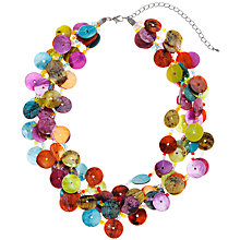 Buy John Lewis Assorted Shell Buttons Multi Row Statement Necklace, Red / Orange Online at johnlewis.com