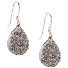 Buy Claudia Bradby Druzy Crystal Simple Drop Hook Earrings, Silver Online at johnlewis.com