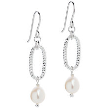 Buy Claudia Bradby Drop Pearl Silver Oval Earrings, Silver Online at johnlewis.com