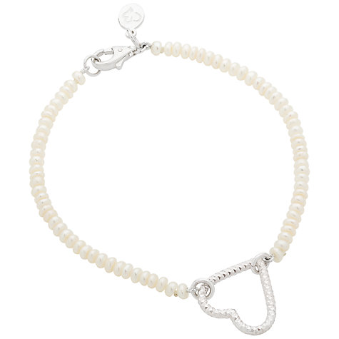 Buy Claudia Bradby Loveheart Outline Pendant Pearl Bracelet, Silver Online at johnlewis.com