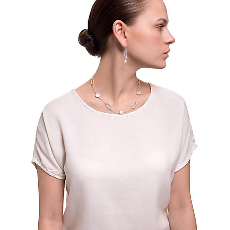 Buy Claudia Bradby Coin Pearl Pebble Necklace, Silver Online at johnlewis.com
