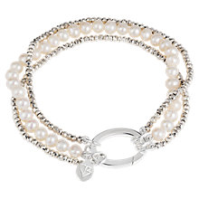 Buy Claudia Bradby Three Strand Pearl Pyrite Bracelet, Silver Online at johnlewis.com