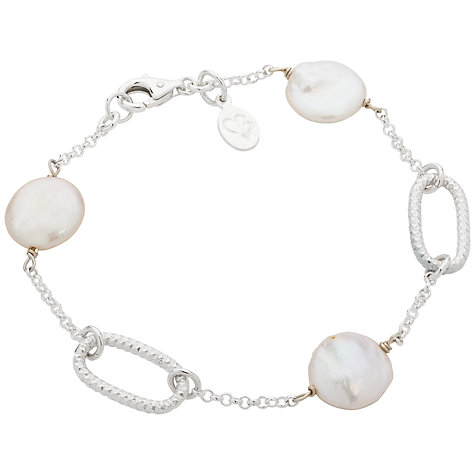 Buy Claudia Bradby Coin Pearl Pebble Bracelet, Silver Online at johnlewis.com