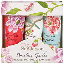 Buy Heathcote & Ivory Sanderson Porcelain Garden Hand Cream Trio, 3 x 30ml Online at johnlewis.com