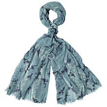 Buy Fat Face Flock of Birds Print Scarf, Green Haze Online at johnlewis.com