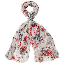 Buy Fat Face Rose Print Scarf, White Online at johnlewis.com
