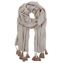 Buy Mint Velvet Striped Scarf, Ivory / Putty Online at johnlewis.com