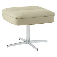 Buy Fjords motionconcept Bordini Leather Footstool with Chrome Base, Soft Grey Online at johnlewis.com