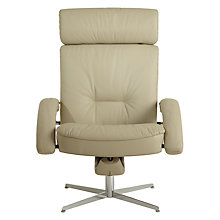 Buy Fjords motionconcept Bordini Low Leather Recliner Armchair with Chrome Base, Light Grey Online at johnlewis.com