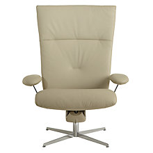 Buy Fjords motionconcept Ascari High Leather Recliner Armchair with Chrome Base, Light Grey Online at johnlewis.com