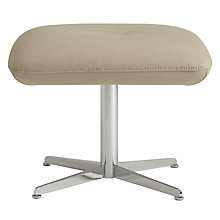 Buy Fjords motionconcept Ascari Leather Footstool with Chrome Base, Soft Grey Online at johnlewis.com