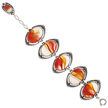 Buy Eclectica 1960s Miracle Faux Agate Oval Link Bracelet, Orange Online at johnlewis.com