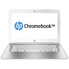 "Buy HP Chromebook 14-q050na, Intel Celeron, 4GB RAM, 16GB SSD, Wi-Fi, 14"", White & Silver Online at johnlewis.com"