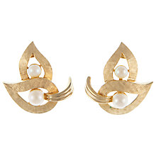 Buy Eclectica 1950s Boucher Abstract Leaf Pearl Clip-On Earrings, Gold Online at johnlewis.com