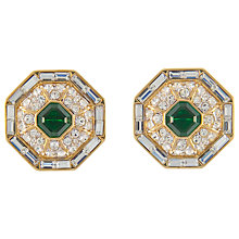 Buy Eclectica Vintage 1970s Nina Ricci Hexagonal Rhinestone Clip-On Earrings, Green Online at johnlewis.com