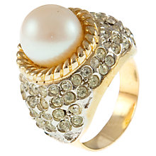 Buy Eclectica 1970s Large Pearl Pave Crystal Cocktail Ring, Gold Online at johnlewis.com