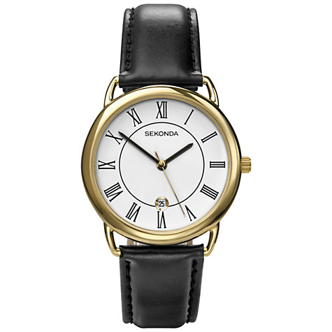 Buy Sekonda 3477.27 Men's Date Dial Leather Strap Watch, Black Online at johnlewis.com