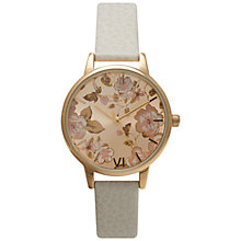 Buy Olivia Burton OB14PL03 Women's Parlour Floral Dial Leather Strap Watch, Mink Online at johnlewis.com