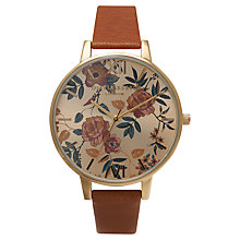 Buy Olivia Burton OB14PL05 Women's Parlour Floral Dial Leather Strap Watch, Tan Online at johnlewis.com