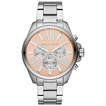 Buy Michael Kors MK5837 Women's Wren Stainless Steel Chronograph Watch, Salmon / Silver Online at johnlewis.com