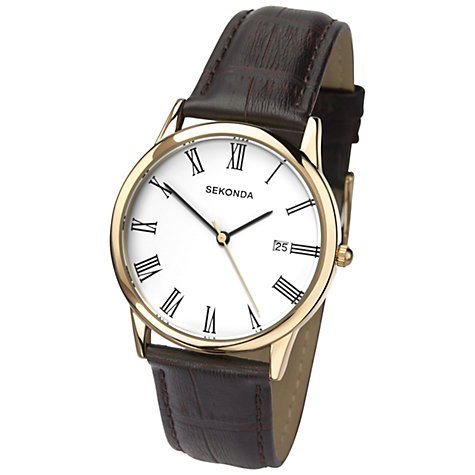 Buy Sekonda 3676.27 Men's Date Dial Leather Strap Watch, Gold / Brown Online at johnlewis.com