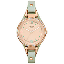 Buy Fossil Women's Georgia Crystal Trim Round Dial Leather Strap Watch Online at johnlewis.com