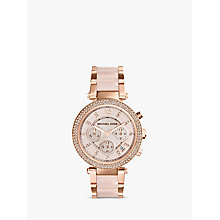 Buy Michael Kors MK5896 Parker Women's Chronograph Diamond Set Bezel Bracelet Watch, Rose Gold/Pink Online at johnlewis.com