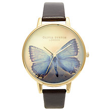 Buy Olivia Burton OB13WL07 Women's Butterfly Motif Leather Strap Watch, Dark Chocolate Online at johnlewis.com