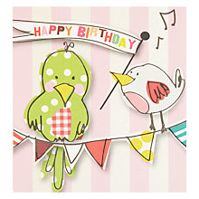 Buy Caroline Gardner Birds on Bunting Birthday Card Online at johnlewis.com