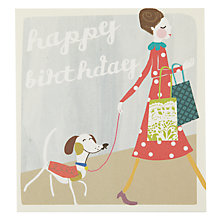 Buy Caroline Gardner Dog on Lead Birthday Card Online at johnlewis.com