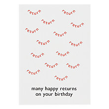 Buy Hype Word Happy Returns Birthday Card Online at johnlewis.com