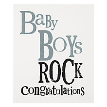 Buy Really Good Baby Boy Rock New Baby Card Online at johnlewis.com