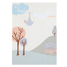 Buy Saffron Stork & Boy New Baby Card Online at johnlewis.com