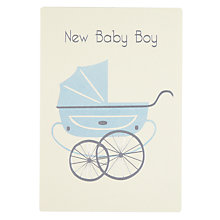Buy James Ellis Stevens Boy Pram Retro New Baby Card Online at johnlewis.com