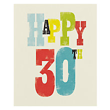 Buy Art File Happy 30th Birthday Card Online at johnlewis.com