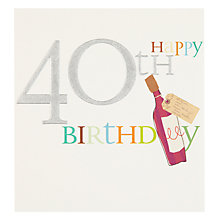 Buy Caroline Gardner Wine 40th Birthday Card Online at johnlewis.com