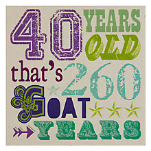 Buy Velvet Olive 40th Birthday Card Online at johnlewis.com
