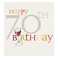 Buy Caroline Gardner Wine Glass 70th Birthday Card Online at johnlewis.com