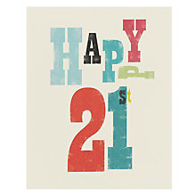 Buy Art File Happy 21st Birthday Card Online at johnlewis.com