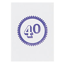 Buy Loveday Designs 40th Birthday Card Online at johnlewis.com
