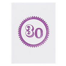 Buy Loveday Designs 30th Birthday Card Online at johnlewis.com