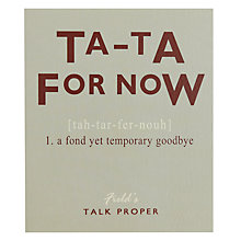 Buy Portfolio Ta Ta Leaving Card Online at johnlewis.com
