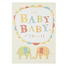 Buy Art File Oh Baby Baby, It's Twins New Baby Card Online at johnlewis.com