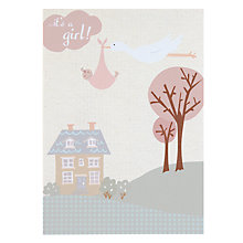 Buy Saffron Stork & Girl New Baby Card Online at johnlewis.com