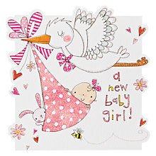 Buy Rachel Ellen Designs Cuckoo Girl New Baby Card Online at johnlewis.com