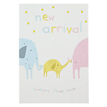 Buy Woodmansterne Elephant New Arrival New Baby Card Online at johnlewis.com
