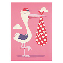 Buy Lagom Designs Pink Stork New Baby Card Online at johnlewis.com