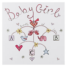 Buy Mint Baby Girl Mobile New Baby Card Online at johnlewis.com